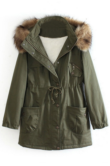 Hooded fake leather pocketed green down coat, the latest street fashion