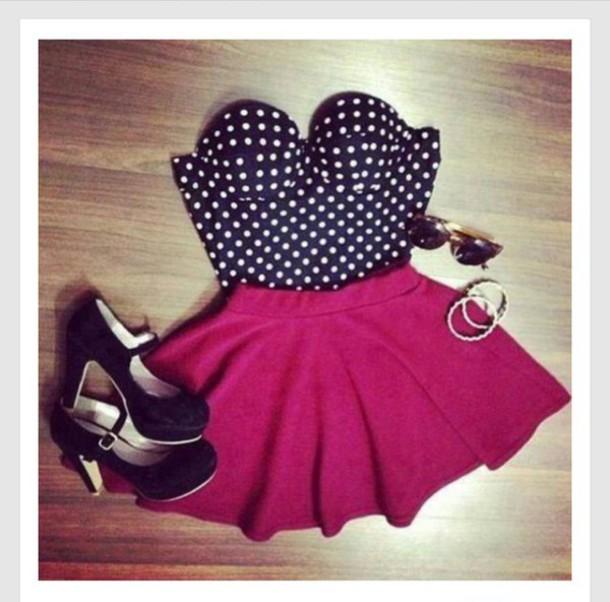 blouse polka dots black and white