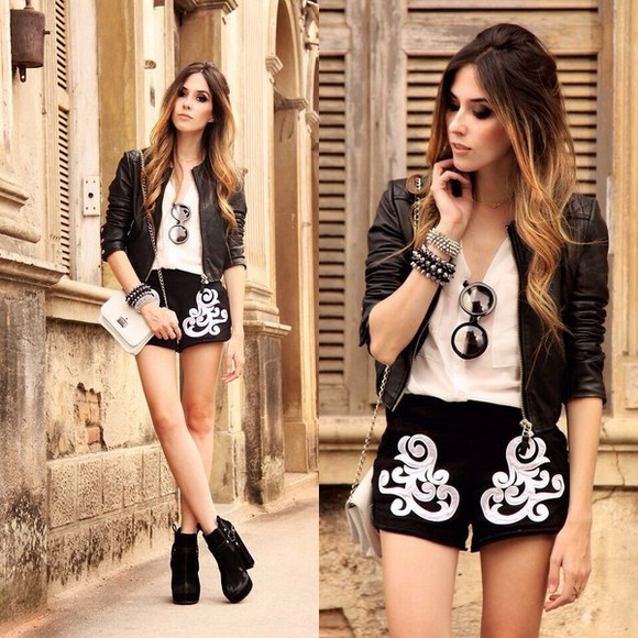 shorts jacket shirt black shorts jewels cute shorts sunglasses shoes bag cool shorts