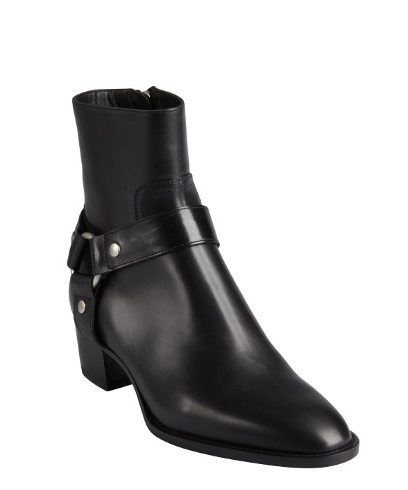 Saint Laurent black leather harness detailed pointed toe ankle boots | BLUEFLY up to 70% off designer brands