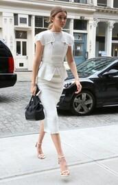 skirt,top,midi skirt,pencil skirt,white,two-piece,sandals,gigi hadid,blouse,white sandals