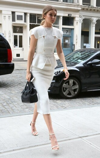 skirt top midi skirt pencil skirt white two-piece sandals gigi hadid blouse white sandals