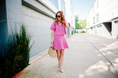 side smile style,blogger,top,jewels,bag,make-up,sunglasses,pink dress,knitwear