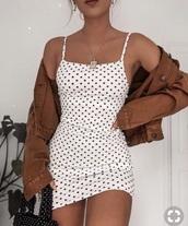 dress,white dress,white,polka dots,tight