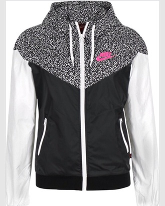jacket nike nike windbreaker windbreaker black white pink print