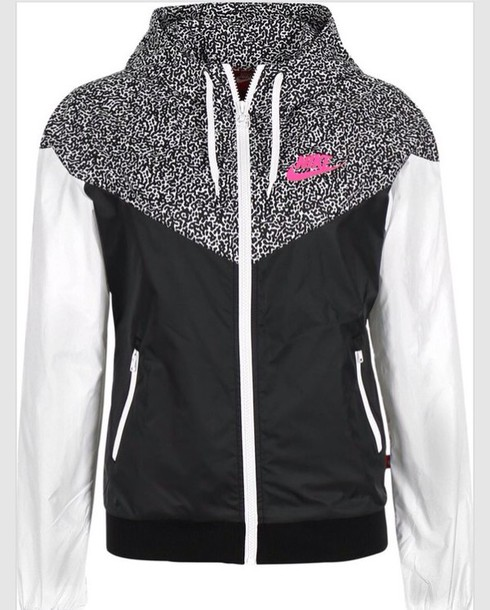 Jacket: nike, nike windbreaker, windbreaker, black, white, pink ...
