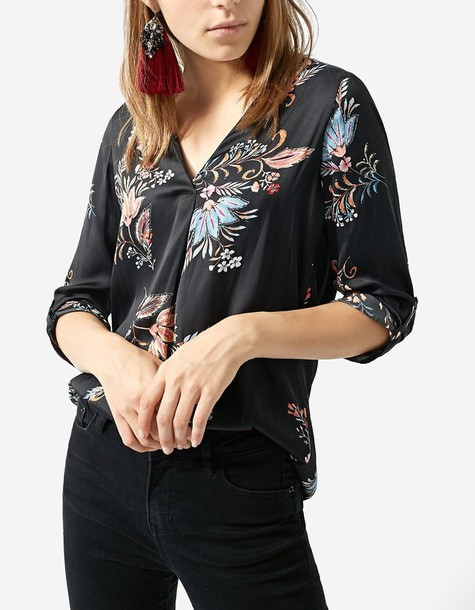 Stradivarius shirt floral shirt long floral black top