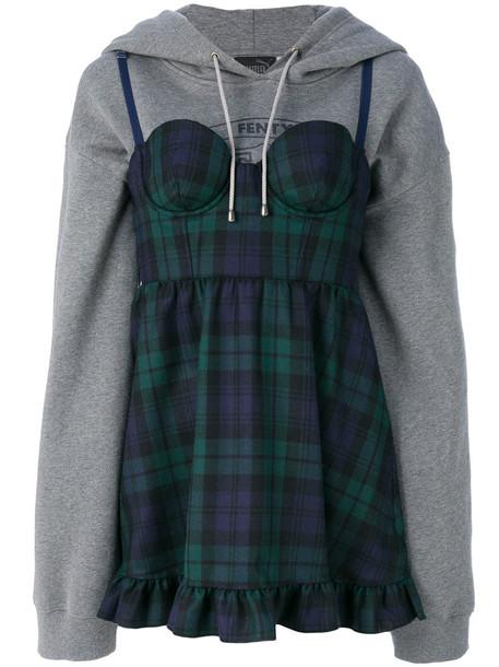 Fenty x Puma dress hoodie dress women cotton wool grey tartan