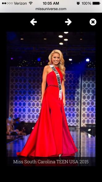 dress miss teen usa prom red gown prom dress red dress