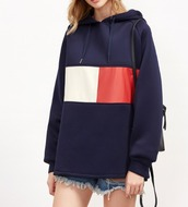 sweater,navy,blue,hoodie,tommy hilfiger