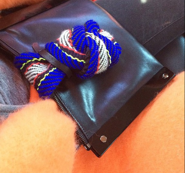 bag clutch royal blue leather weaving craft