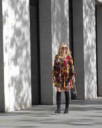 bows&sequins blogger dress shoes bag sunglasses fall outfits fall dress knee high boots printed dress
