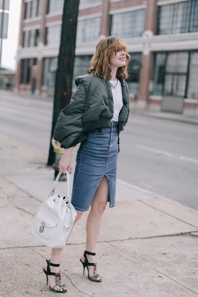 cf052b8c468 sea of shoes blogger skirt t-shirt jewels bag shoes jacket tumblr khaki  bomber jacket