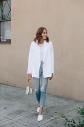 could i have that,blogger,jacket,t-shirt,jewels,bag,blazer,white blazer