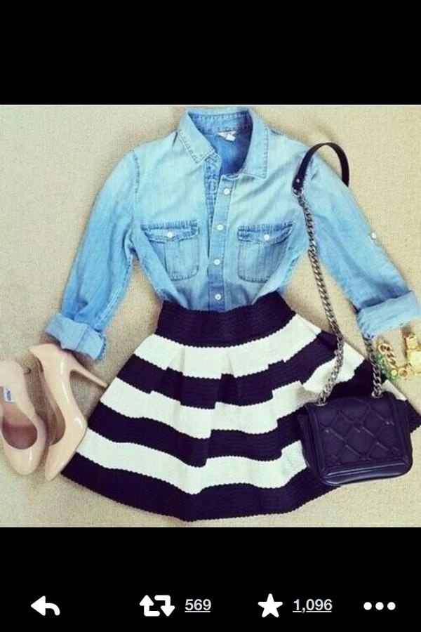 skirt striped skirt denim shirt nude high heels crystal bag clutch shiny purse bag