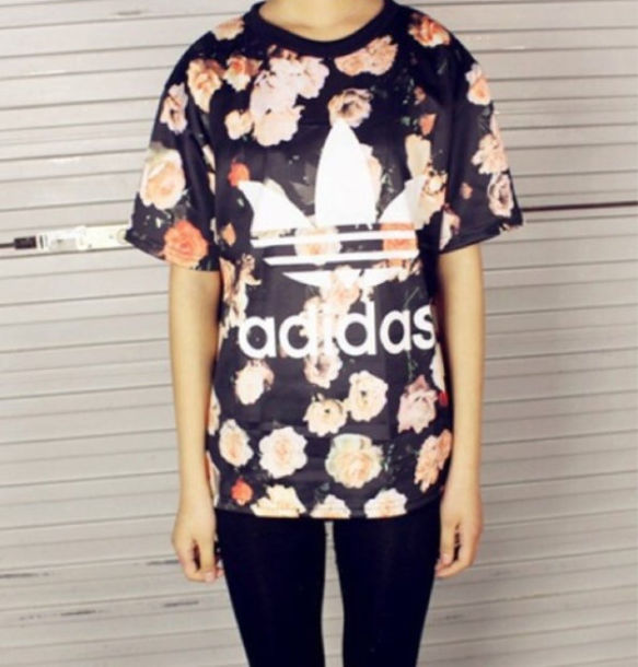 t-shirt adidas shirt adidas originals floral shirt floral tshirt roses print