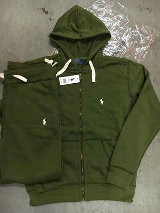 sweater army green polo sweatsuit