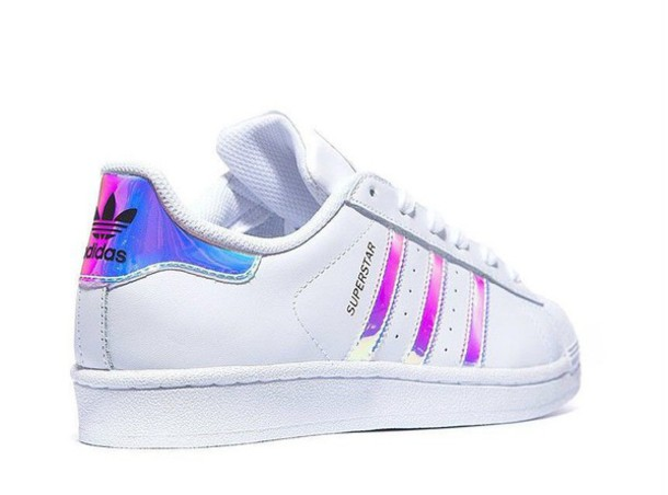 shoes, adidas, superstar, metal silver, holographic, lazer, holographic,  iridescent - Wheretoget