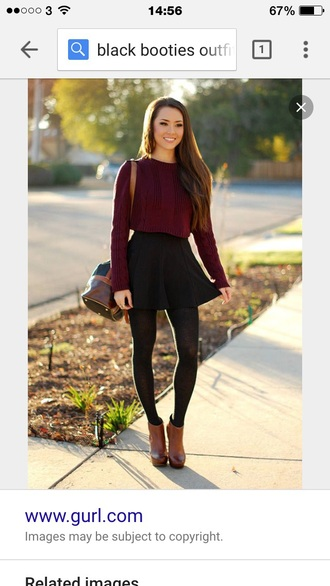 sweater red sweater skater skirt tights bag brown leather boots