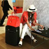 hat,shiva safai,celebrity,jacket,red jacket,leather jacket,pants,white pants,chanel espadrilles,espadrilles,bag,hermes bag,red bag,white hat,airport fashion