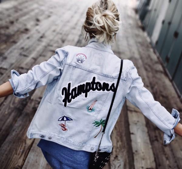 jacket blue and cream hamptons 36683 denim jacket Rails Clothing blogger summer jacket denim patched denim