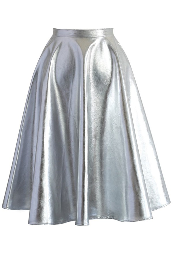 skirt chicwish silver faux leather a-line midi skirt