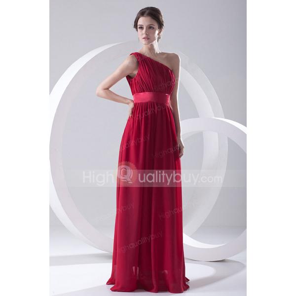 Stunning Burgundy Elegant A-line One Shoulder Chiffon Floor-length Evening Dress_$111.99