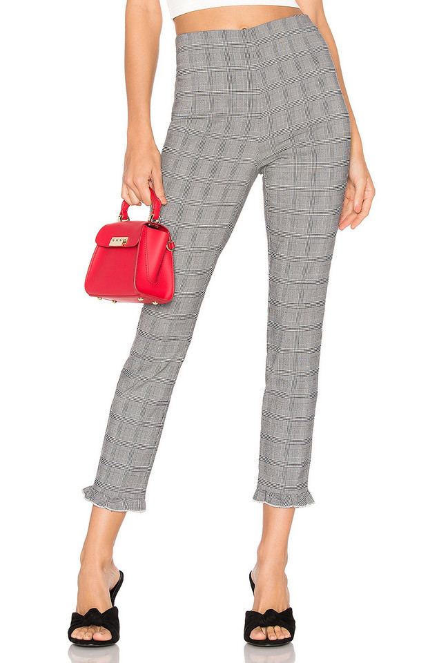 About Us Josephine Plaid Ruffle Pants in black