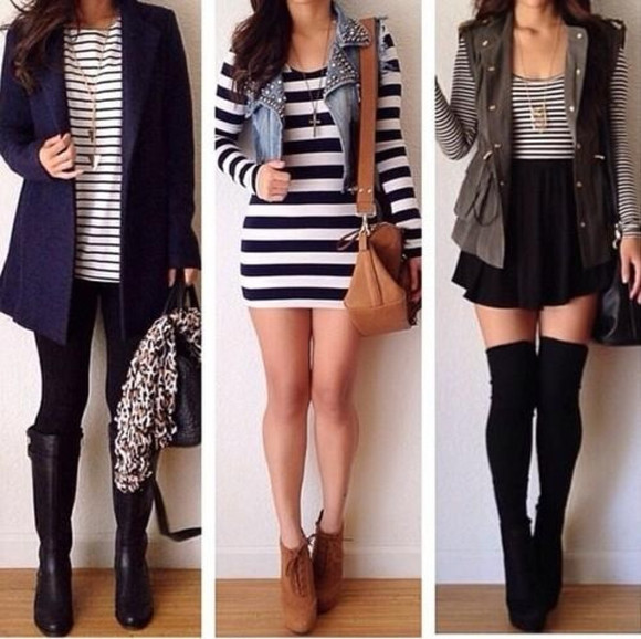 denim jacket boots striped dress stripe shirt thigh high socks knee-high boots pretty #bags skater skirt