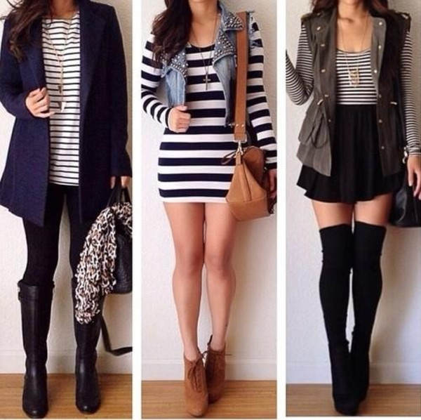 striped dress stripe shirt knee high socks boots knee-high boots pretty #bags skater skirt denim jacket skirt jacket bag stripes brown shoes heels t-shirt tights socks