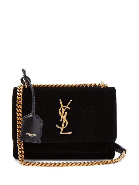 bag shoulder bag velvet black