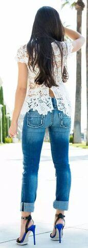 blouse,shoes,royal blue,heels,blue pumps,white shirt,lace top,open back