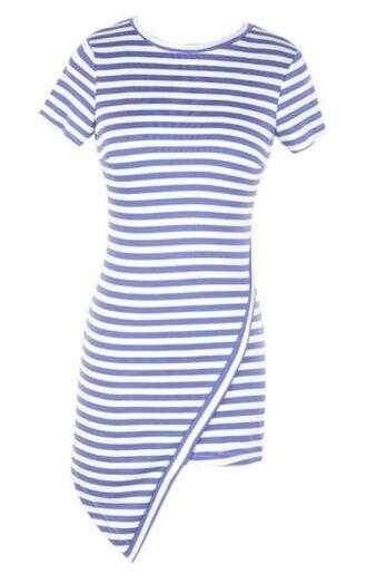 striped dress bodycon dress www.ustrendy.com blue and white stripes striped bodycon asymmetrical asymmetric hem short sleeves rounded neckline