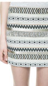 Zara aztec cream gold sequin bead embroidered skirt medium m