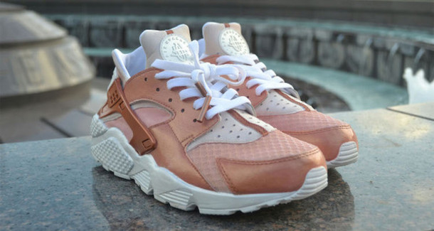 55e8cfe20aaa shoes rose gold rose pink huarache nike nike air super cute huarache  customized huaraches customized sneakers