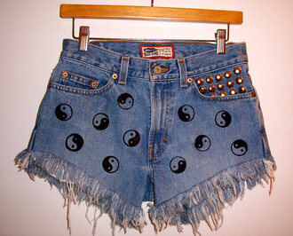 shoes denim shorts high waisted yin yang frayed vintage studded festival summer etsy clothes shorts highwiast 90s style grunge hipster