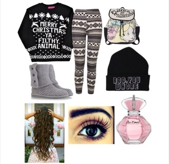 hat pants sweater christmas leggings christmas sweater
