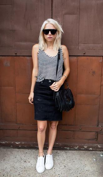 skirt black and white striped top black denim skirt sunglasses white sneakers black bag blogger