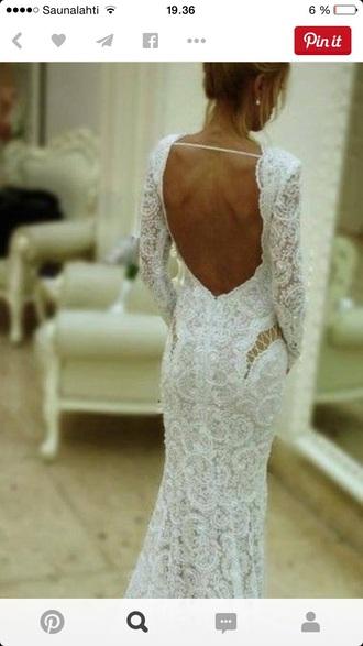 dress wedding backless sleeves wedding dress lace dress