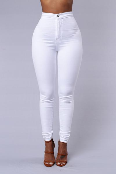 High Waist Denim Skinnies - White | Fashion Nova