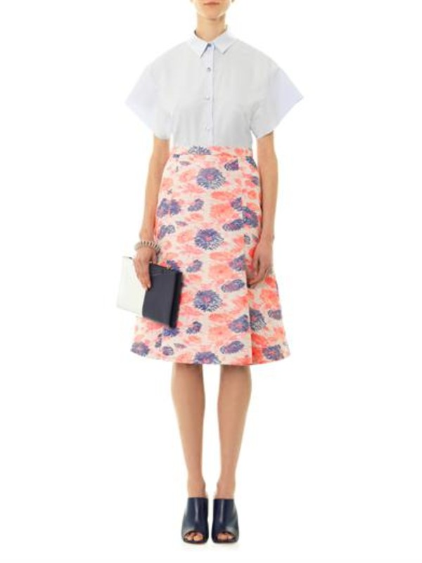 skirt centaurea floral jacquard skirt pink eudon choi nappa leather mules mules gianvito rossi balenciaga bubble chain bracelet bracelets cirsium cotton shirt shirt white shirt\ white large bi-colour leather clutch fendi clutch shoes jewels bag