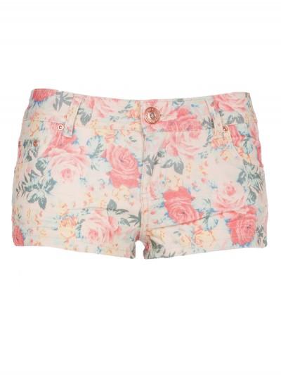 Coral/Cream Floral Print Denim Shorts | Shorts | Desire