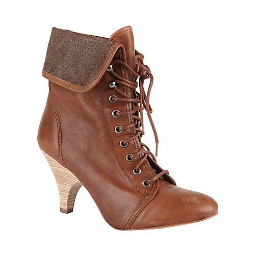 Hitchike cognac le women's bootie high lace up