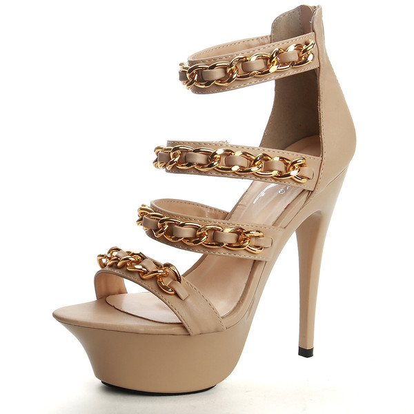 Chanelesque quilted chains sandals