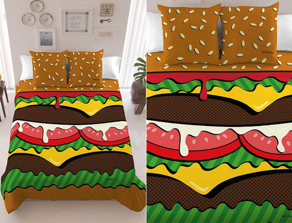 hamburger food bag bedding fast food