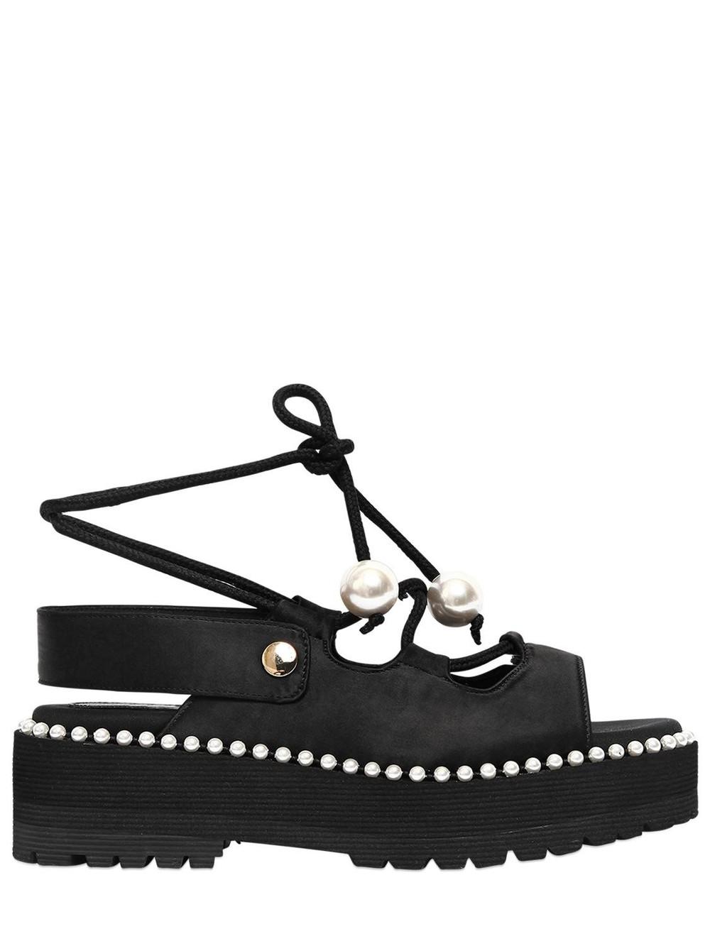 SUECOMMA BONNIE 60mm Satin Lace-up Platform Sandals in black