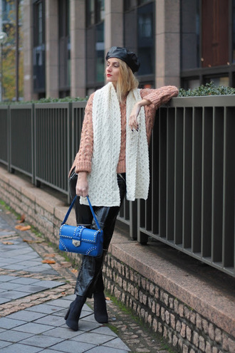 from brussels with love blogger sweater scarf bag pants shoes beret pink sweater blue bag leather pants