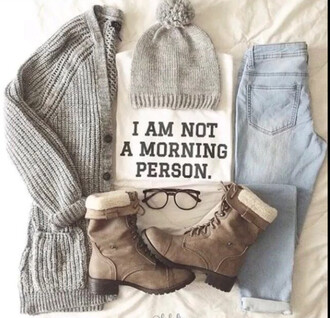 jeans outfit shoes cardigan beanie