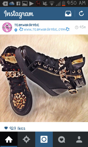 shoes leopard print sneakers high top sneaker chain chain sneaker