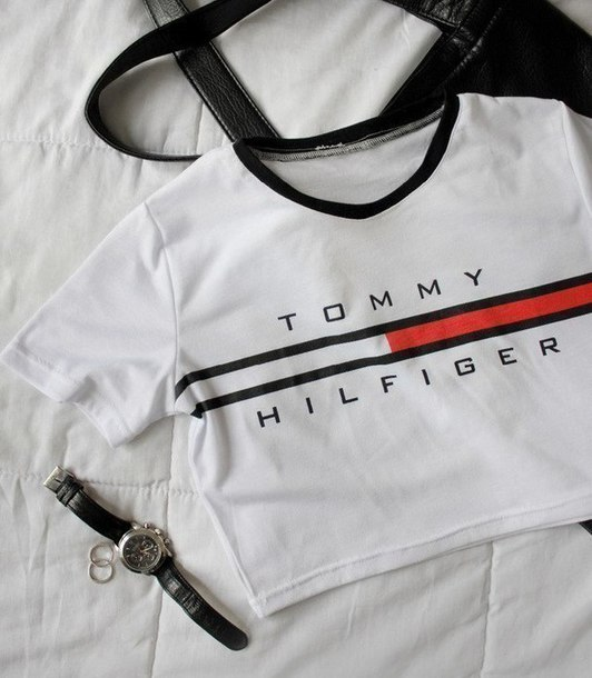 74b8a73a7e7535 shirt cool logo summer casual cropped tommy hilfiger crop tops white  beautifulhalo